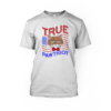 """true pawtriot wordage with a cat and an american flag on the front of a white crew neck unisex t-shirt"""