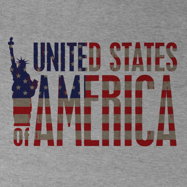 """united states of america design on the front of an athletic heather image"""