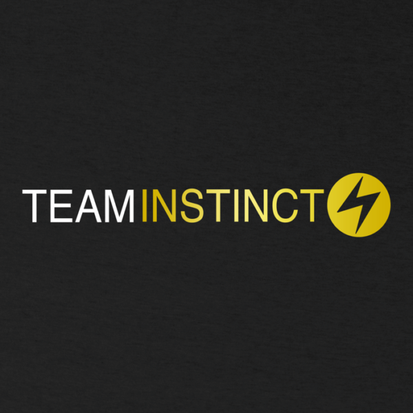 """white and electric yellow team instinct wordage and symbol on the front of a dark grey heather image"""