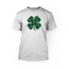 """green and black clover on the front of an white unisex t-shirt"""